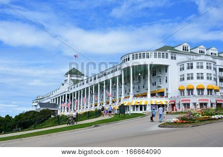MACKINAC ISLAND - JULY, 2016 : The Grand Hotel is the largest and most historic hotel on the island.