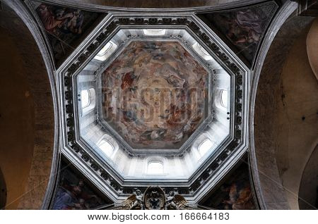 Painted Ceiling Of The Dome Of Santa Maria Del Popolo Basilica