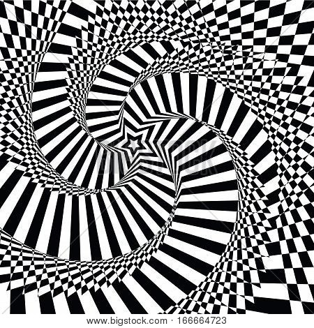 vector illustration motley visual and optical illusion star-shaped black and white, twisted spiral.