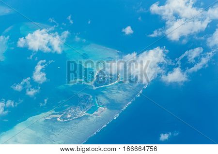 Scenic aerial view on tropical island of Maldives