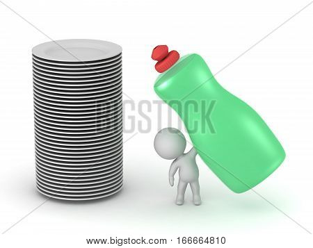 Small 3D character with a stack of plates and a large bottle of dish soap. Isolated on white background.