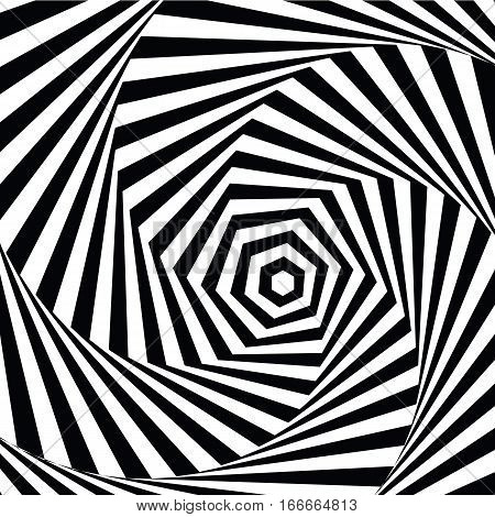 vector illustration motley visual and optical illusion in the form of a hexagon black and white, twisted spiral.