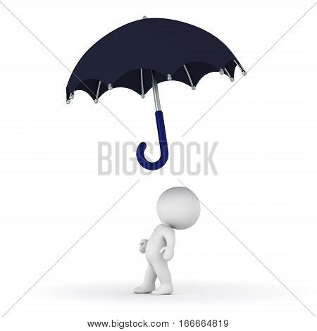 Small 3D character looking up at an umbrella. Isolated on white background.