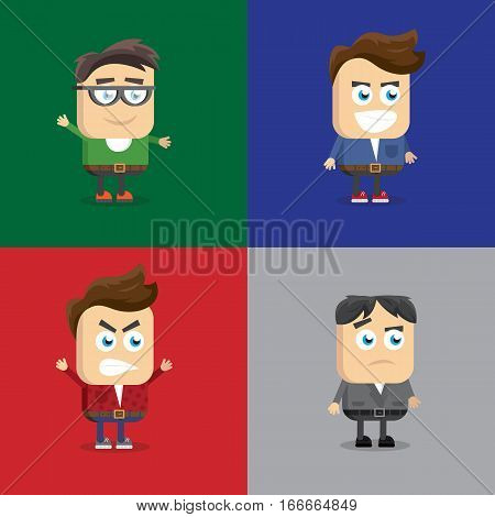 vector illustration of a variety of emotions, grimassy, face shape and hairstyle, young men accessories.
