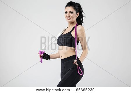 Sports Beautiful Woman With Rope