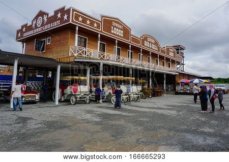 Tuaran,Sabah,Malaysia-Jan 22,2017:Sabandar Leisure Rides cowboy town in Tuaran,Sabah features are a 19th century American lodge,stables,restaurants,paddocks,riding trails and lots of horses.