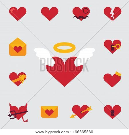set of icons, or festive invitation card for Valentine Day featuring the character of love, hearts, angels and romantic charset value, vector illustration in light background. Pattern design. Flyer or invitation.