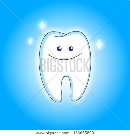 Cute white smiling tooth in animated style. Vector illustration EPS10.