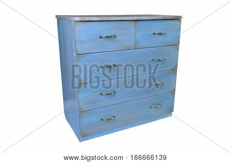 old vintage antique chest of drawers.Wooden dresser isolated on white