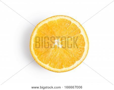 Ripe, fresh orange slice isolated on white background. Perfectly retouched with clear details. Full depth of field. Fruit photographed in Studio on white background