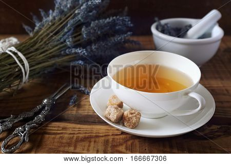 Aromatic lavender tea and bunch of dried lavender