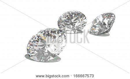 Diamonds isolated on white 3d model. isolated. render