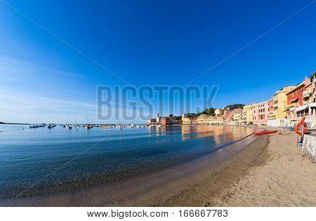 Bay of Baia del Silenzio in town Sestri Levante in Italy Europe