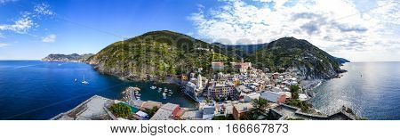 Vernazza one of five villages in Cinque Terre National Park and is a UNESCO World Heritage Site on Italian Riviera. Panorama-View from Doria Castle