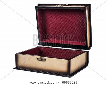 Picture of opened wooden jewel-box with red fit-out isolated on white background. Handmade boxes for bijouterie. Side view.