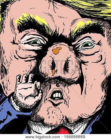 January 23 2017. Caricature of Donald Trump with dirty hog shaped nose