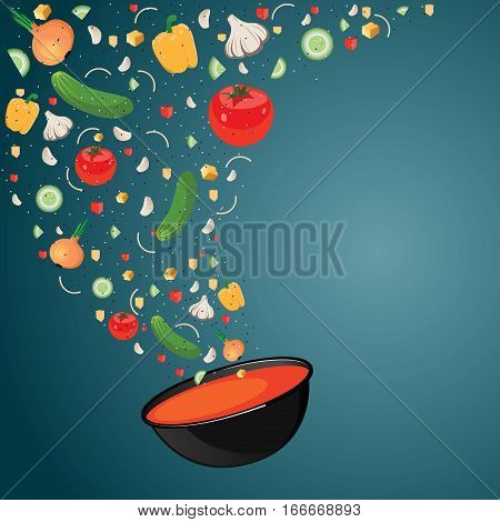 Cooking soup with vegetables. Gazpacho. Vector illustration. Vegetables fall into the bowl. Recipe soup. Space for text