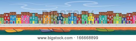 Horizontal vector banner with river channel boats pier and quay street. Bight colored houses.
