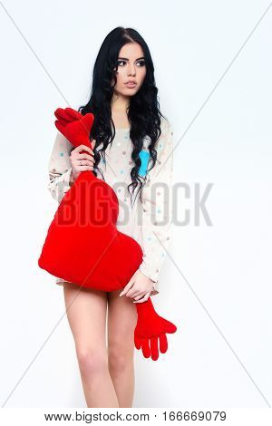 Pretty Sexy Girl With Red Valentines Pillow In Nightie