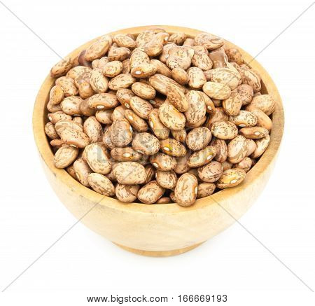 Pinto Beans On Wood Cup Isolated
