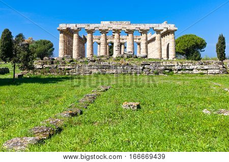 Italy Cilento archaeological site of Paestum the Temple of Athena (olso known as Cerere Temple)