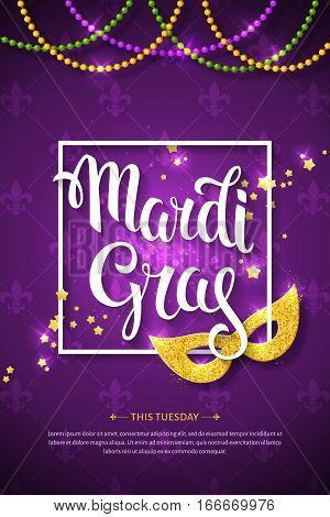 Mardi gras brochure. Vector logo with hand drawn lettering and golden fat tuesday symbols. Greeting card with shining beads on traditional colors background