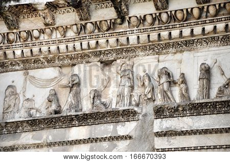 Architectural Details Of Minerva Forum. Rome, Italy