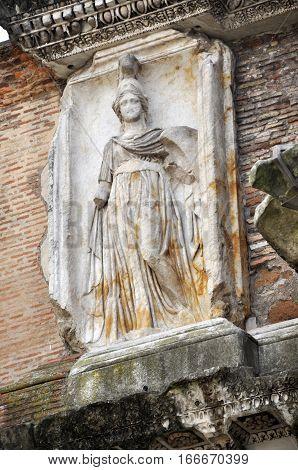 Sculpture Of Minerva In Rome, Italy