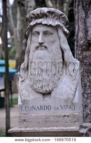 Statue Of Leonardo Da Vinci In Villa Borghese Gardens