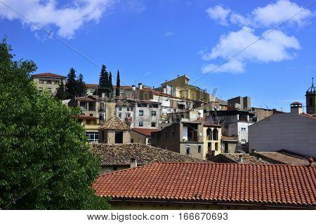 Old village near Santa Maria De Monserrat Benedictine Abbey in Spain.