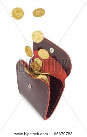 Coins money fall into red leather purse