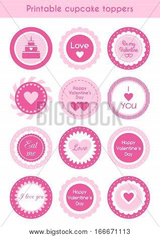 Vector set of circle pink printable cupcake toppers, labels for Valentines day party