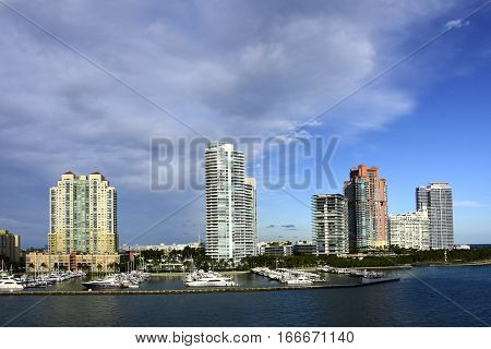 Cityscape of Miami Florida cruising out of the port of Miami.