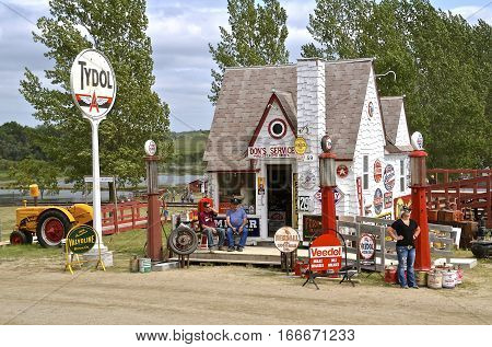 ROLLAG, MINNESOTA, Sept 1. 2016: A Tydol gas station full of pumps, signs and memorabilia is displayed at the West Central Steam Threshers Reunion in Rollag, MN attended by 1000's held annually on Labor Day weekend.
