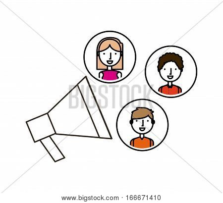 megaphone with woman and men icons over white background. colorful design. vector illustration