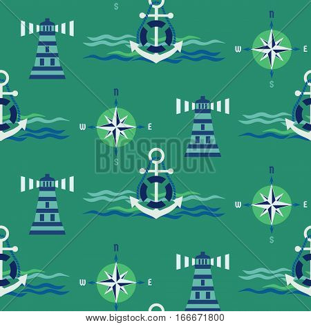Maritime seamless pattern. Nautical symbol. Freehand drawn cartoon sailing signs. Vector Seashore marine element buoy, wind rose, lighthouse. Template background for textile, packaging, print projects