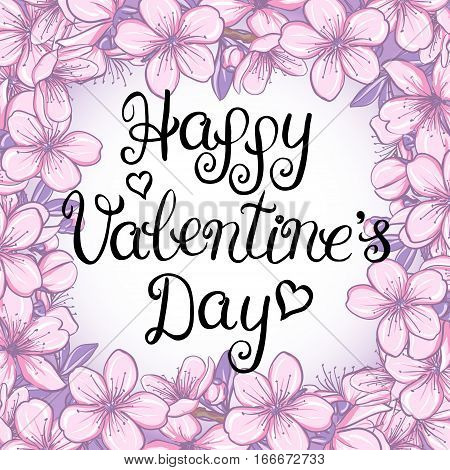 Happy valentines day card with lettering on a floral background