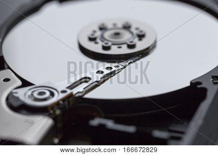 Close ups of an open computer hard drive