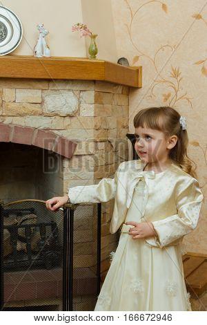 Girl Near The Fireplace