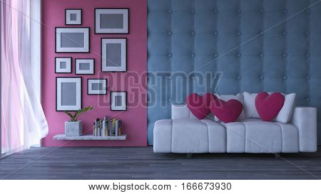 3d rendering image of interior design living room.pink heart pillow on sofa set place on the wooden floor which have photo frames on the concrete and leather wall as background. Valentine day concept