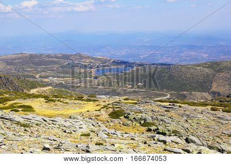 background panoramic landscape of the mountain nature reserve Sierra de Estrela in Portugal, Europe
