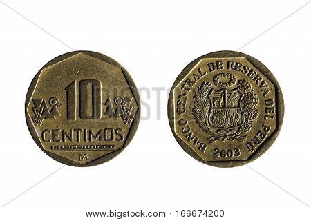 Ten Cents Peruvian Currency