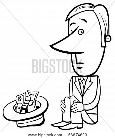 Businessman Beggar Illustration
