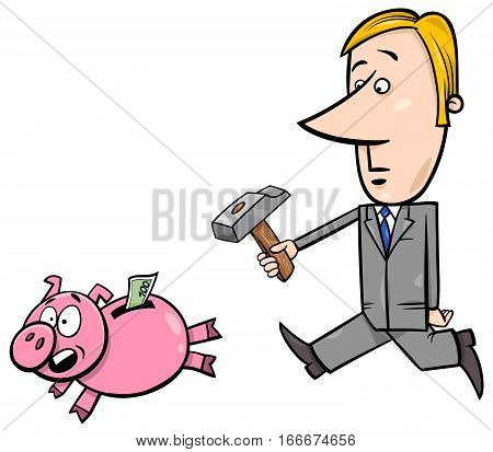 Businessman Chase Piggy Bank
