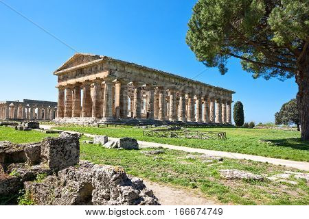 Italy Cilento archaeological site of Paestum the Temple of Neptune