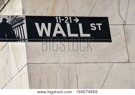 New York, USA - May 11, 2015: Wall street sign with tiled building