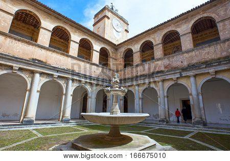 Padula Italy - April 8 2011: The Certosa of San Lorenzo the cloister