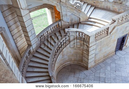ItalyCilento Padula the flight of steps of the great cloister of the Certosa of San Lorenzo