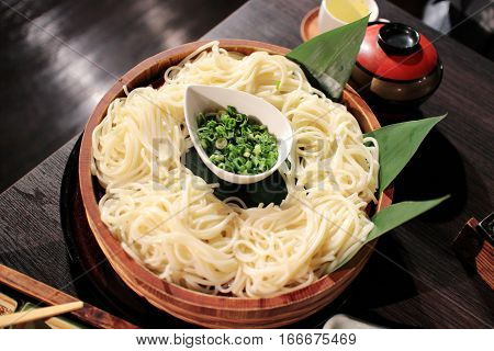 Udon Noodle: Japanese noodle with traditional tray