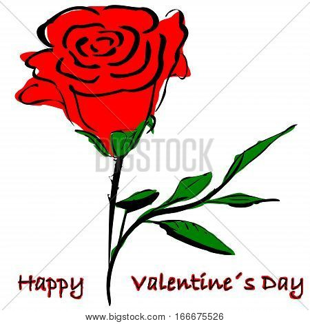 Rose and text Happy Valentine`s Day, Illustartion